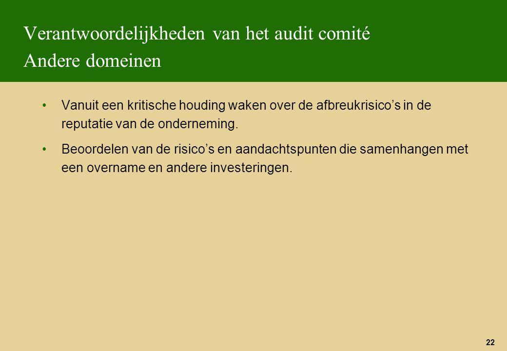 22 Verantwoordelijkheden van het audit comité Andere domeinen Vanuit een kritische houding waken over de afbreukrisico's in de reputatie van de ondern