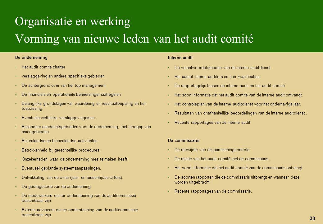 33 Organisatie en werking Vorming van nieuwe leden van het audit comité De onderneming Het audit comité charter verslaggeving en andere specifieke geb