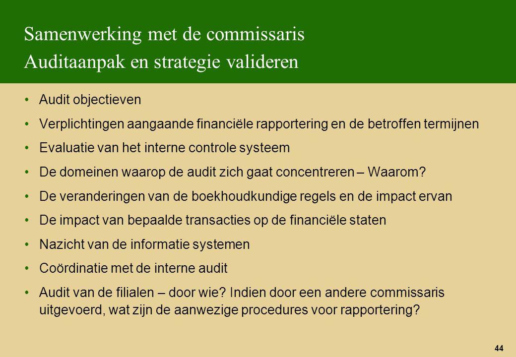 44 Samenwerking met de commissaris Auditaanpak en strategie valideren Audit objectieven Verplichtingen aangaande financiële rapportering en de betroff