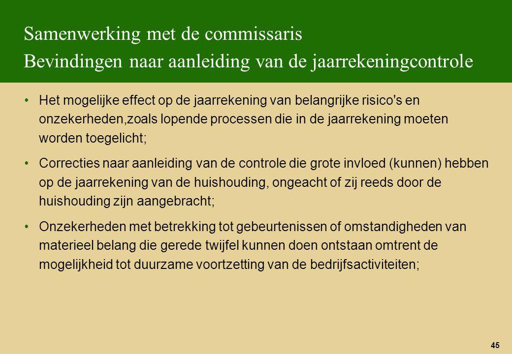 45 Samenwerking met de commissaris Bevindingen naar aanleiding van de jaarrekeningcontrole Het mogelijke effect op de jaarrekening van belangrijke ris