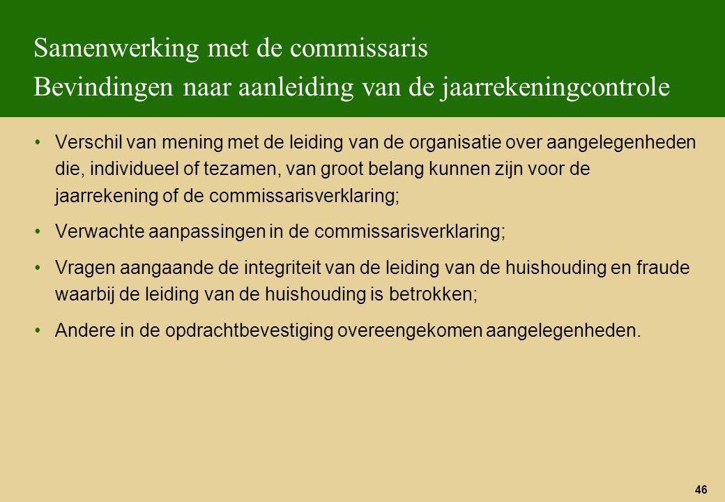 46 Samenwerking met de commissaris Bevindingen naar aanleiding van de jaarrekeningcontrole Verschil van mening met de leiding van de organisatie over