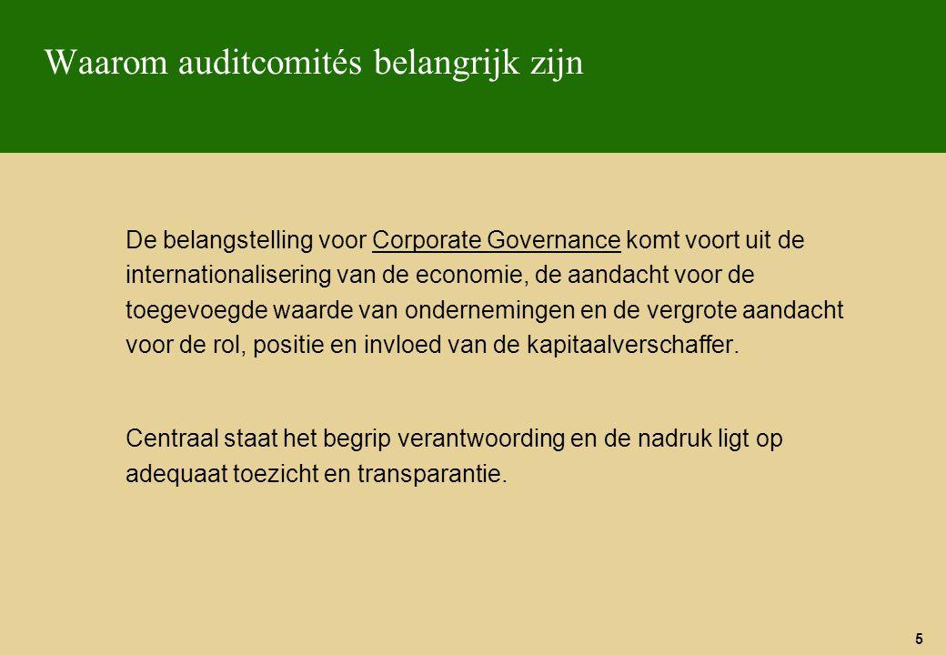 26 Audit comité charter Belang van een geschreven charter van het audit comité  Het preciseert op een duidelijke wijze de rol en verantwoordelijkheden van het audit comité en definieert een referentiekader voor het audit comité, zijn leden, de raad van bestuur, de directie, de interne auditors en de revisoren Het charter moet nagezien en goedgekeurd zijn door de raad van bestuur.