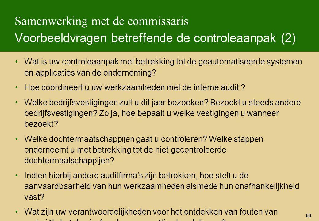 53 Samenwerking met de commissaris Voorbeeldvragen betreffende de controleaanpak (2) Wat is uw controleaanpak met betrekking tot de geautomatiseerde s