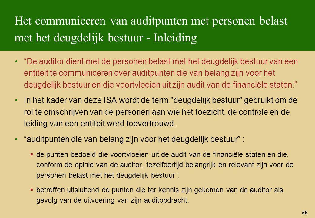 """55 Het communiceren van auditpunten met personen belast met het deugdelijk bestuur - Inleiding """"De auditor dient met de personen belast met het deugde"""