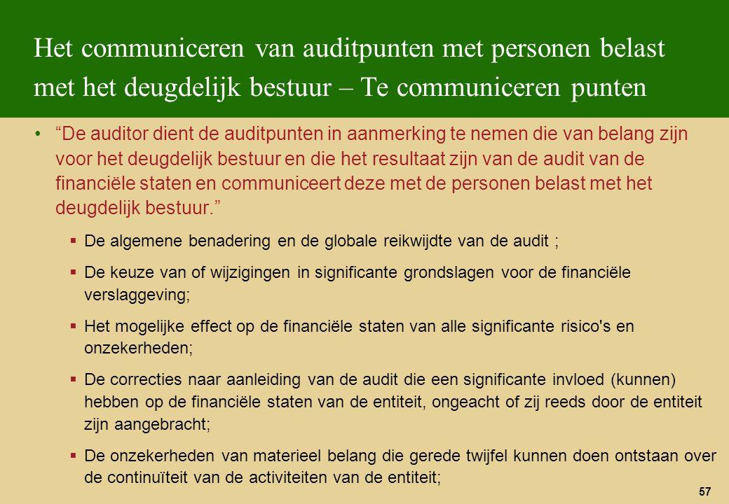 """57 Het communiceren van auditpunten met personen belast met het deugdelijk bestuur – Te communiceren punten """"De auditor dient de auditpunten in aanmer"""