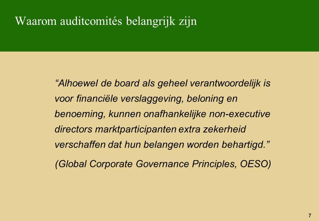 68 De situatie in België De commissie Cardon over corporate governance Niet verplichte richtlijnen Benadering « comply or explain » (voldoen of uitleggen)  In het jaarverslag de omstandigheden of de specifieke redenen uiteenzetten die een afwijkende houding ten opzichte van de richtlijnen verklaren  titel 4 – Informatie en controles : 4.3 « De Belgische commissie van Corporate Governance adviseert om een audit comité met minimum 3 niet-uitvoerende bestuurders in te richten, waarvan de missie op éénduidige wijze de autoriteit en de verplichtingen omschrijft.
