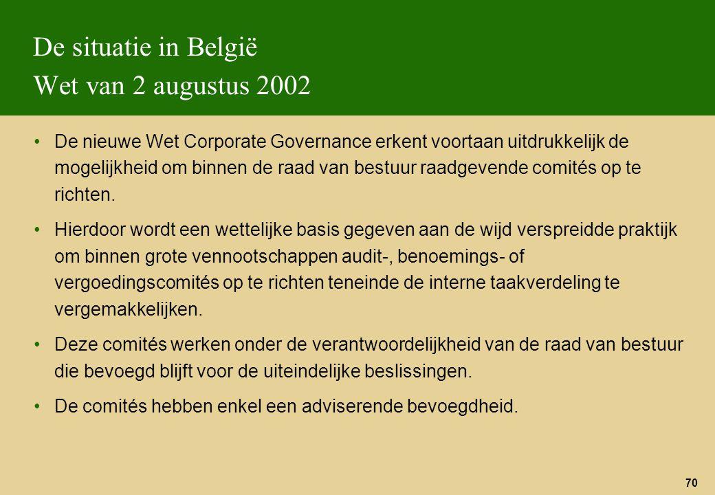 70 De situatie in België Wet van 2 augustus 2002 De nieuwe Wet Corporate Governance erkent voortaan uitdrukkelijk de mogelijkheid om binnen de raad va