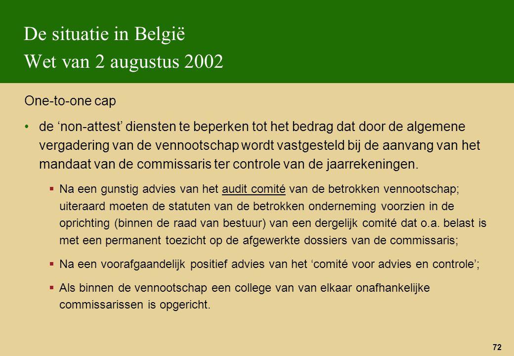 72 De situatie in België Wet van 2 augustus 2002 One-to-one cap de 'non-attest' diensten te beperken tot het bedrag dat door de algemene vergadering v