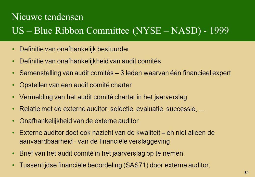 81 Nieuwe tendensen US – Blue Ribbon Committee (NYSE – NASD) - 1999 Definitie van onafhankelijk bestuurder Definitie van onafhankelijkheid van audit c