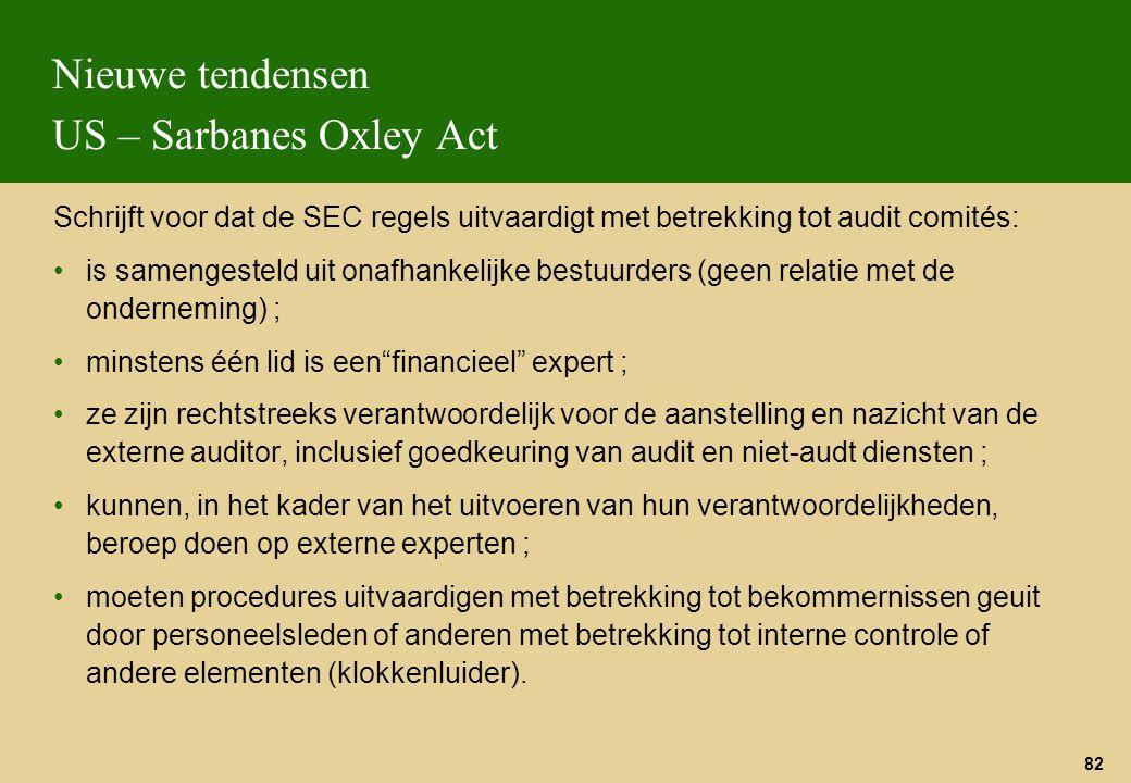82 Nieuwe tendensen US – Sarbanes Oxley Act Schrijft voor dat de SEC regels uitvaardigt met betrekking tot audit comités: is samengesteld uit onafhank