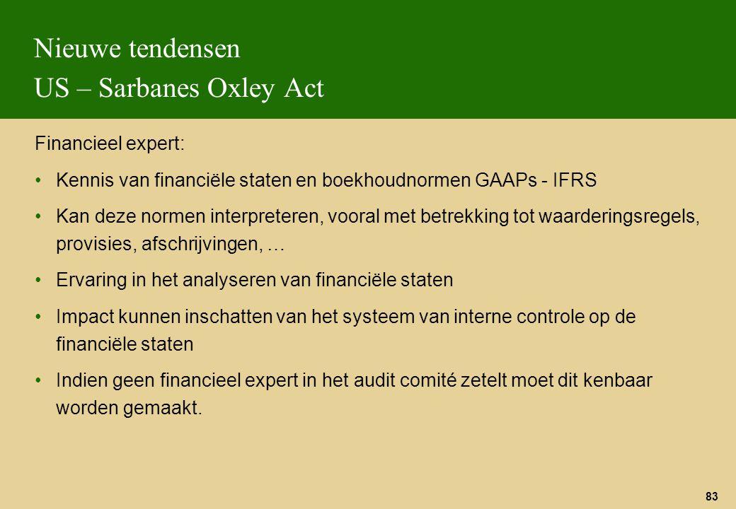 83 Nieuwe tendensen US – Sarbanes Oxley Act Financieel expert: Kennis van financiële staten en boekhoudnormen GAAPs - IFRS Kan deze normen interpreter