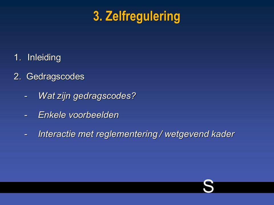 S 11 3. Zelfregulering 1.Inleiding 2. Gedragscodes -Wat zijn gedragscodes.