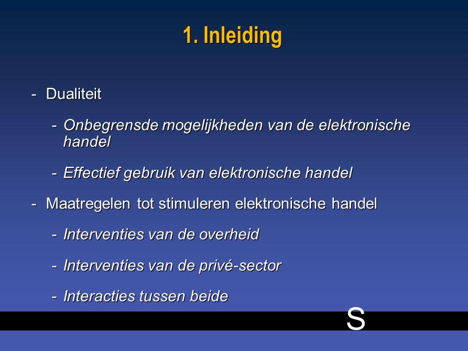 S 1. Inleiding -Dualiteit -Onbegrensde mogelijkheden van de elektronische handel -Effectief gebruik van elektronische handel -Maatregelen tot stimuler