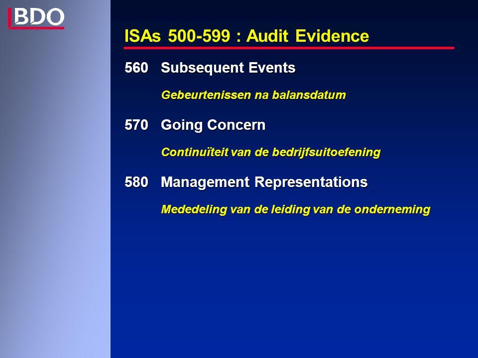 ISAs 500-599 : Audit Evidence 560Subsequent Events Gebeurtenissen na balansdatum 570Going Concern Continuïteit van de bedrijfsuitoefening 580Management Representations Mededeling van de leiding van de onderneming