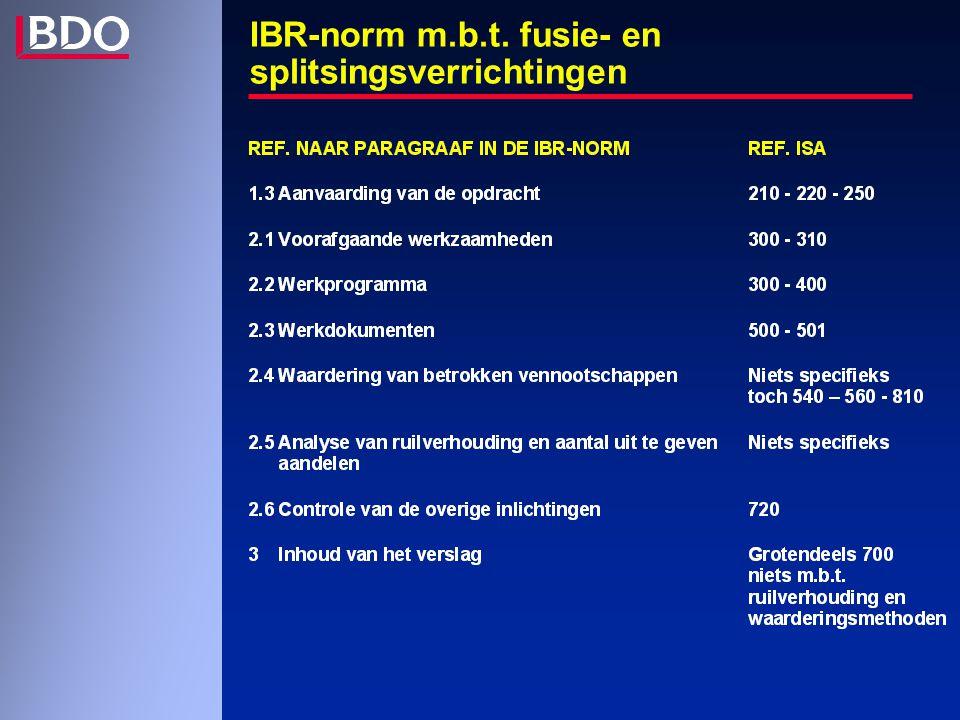 IBR-norm m.b.t. fusie- en splitsingsverrichtingen
