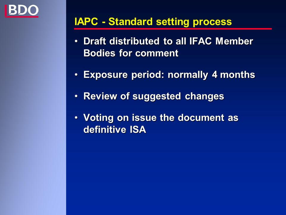 IAS 100 : Assurance Engagements Are NOT considered assurance engagements -agreed-upon procedures (ISA 920) -compilation of financial or other information (ISA 930) -preparation of tax returns where no conclusion is expressed -tax consulting -management consulting -advisory services
