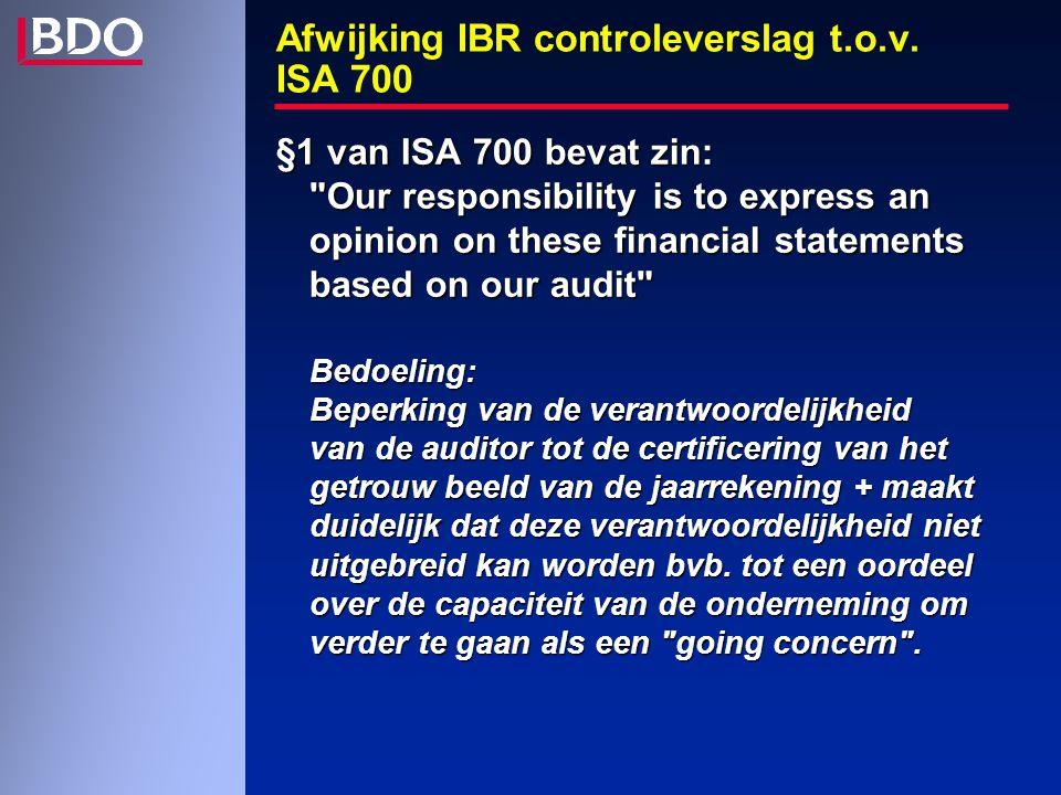 Afwijking IBR controleverslag t.o.v.