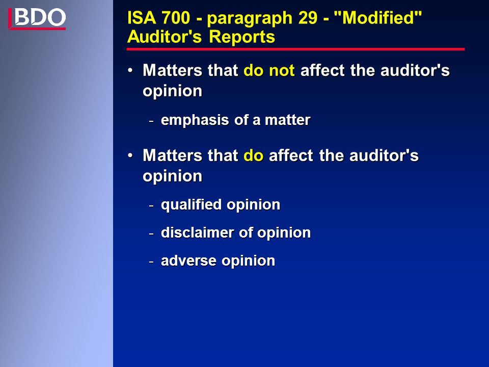 ISA 700 - paragraph 29 - Modified Auditor s Reports Matters that do not affect the auditor s opinionMatters that do not affect the auditor s opinion -emphasis of a matter Matters that do affect the auditor s opinionMatters that do affect the auditor s opinion -qualified opinion -disclaimer of opinion -adverse opinion