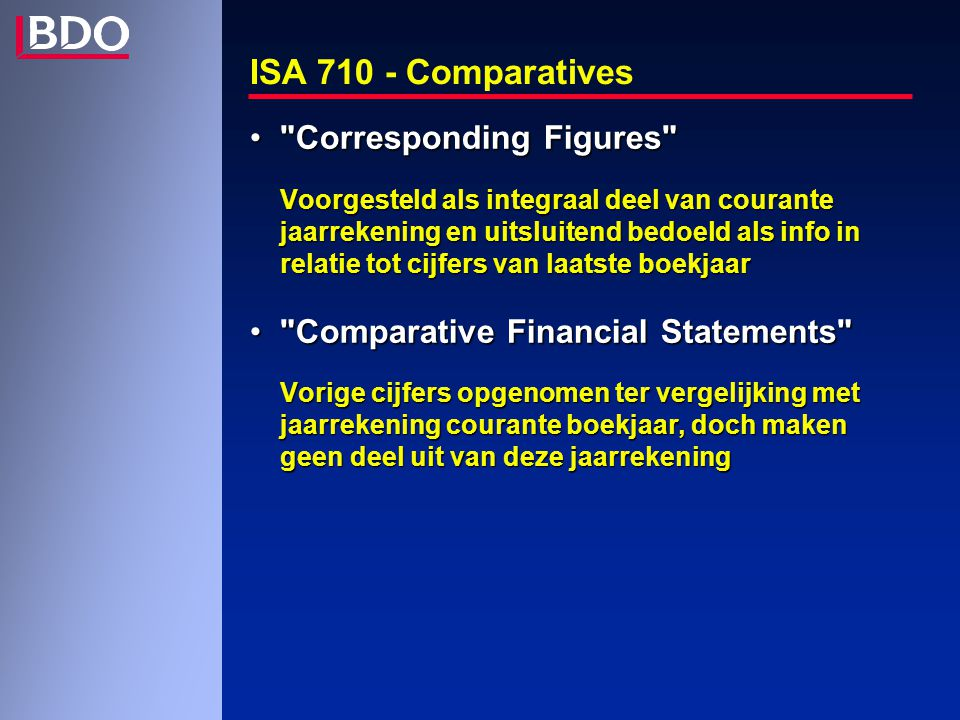ISA 710 - Comparatives