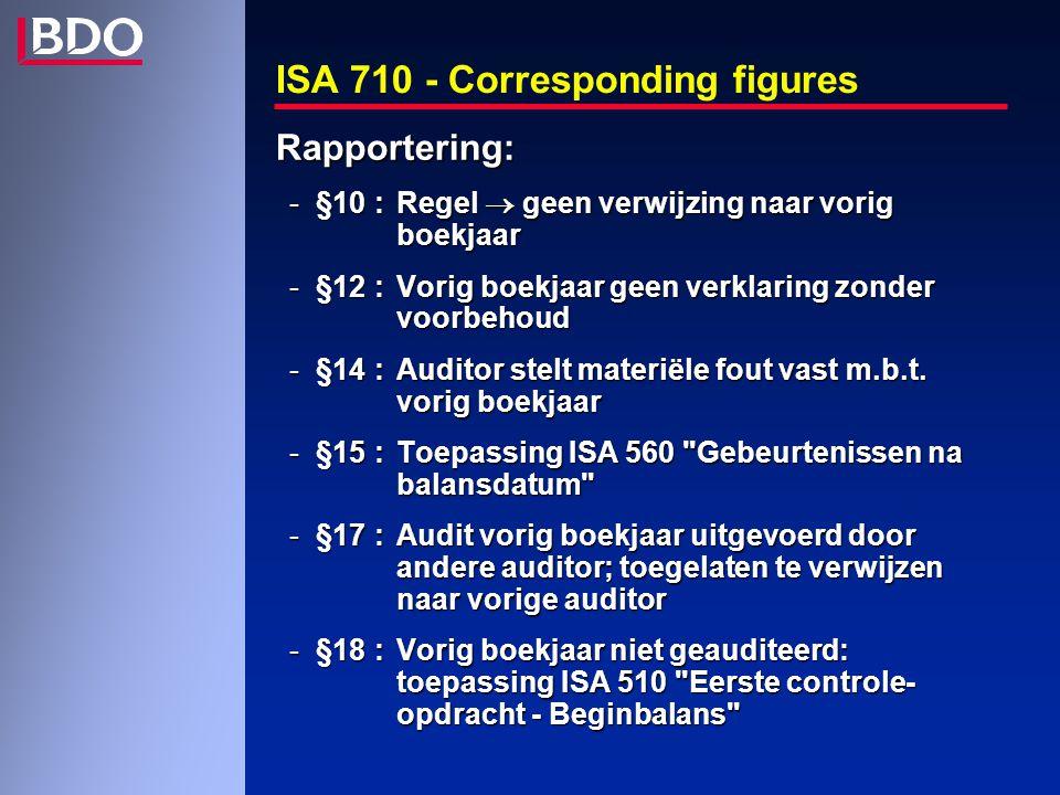 ISA 710 - Corresponding figures Rapportering: -§10:Regel  geen verwijzing naar vorig boekjaar -§12:Vorig boekjaar geen verklaring zonder voorbehoud -§14:Auditor stelt materiële fout vast m.b.t.