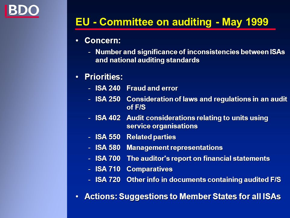 Study FEE 2000 - The Auditor s Report in Europe ISA 700 - paragraph 19 - Reference to the financial reporting framework in the opinion paragraph Reference to be made:Reference to be made: -either to the national law/regulationsYES * -or to national accounting standards - -or both - *applicable legal and regulatory requirements