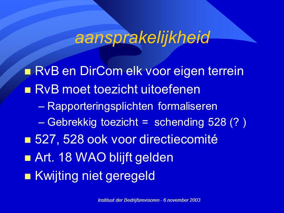 Instituut der Bedrijfsrevisoren - 6 november 2003 aansprakelijkheid n RvB en DirCom elk voor eigen terrein n RvB moet toezicht uitoefenen –Rapporteringsplichten formaliseren –Gebrekkig toezicht = schending 528 (.