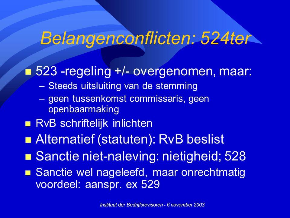 Instituut der Bedrijfsrevisoren - 6 november 2003 Belangenconflicten: 524ter n 523 -regeling +/- overgenomen, maar: –Steeds uitsluiting van de stemmin