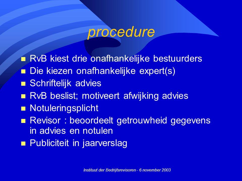 Instituut der Bedrijfsrevisoren - 6 november 2003 procedure n RvB kiest drie onafhankelijke bestuurders n Die kiezen onafhankelijke expert(s) n Schrif