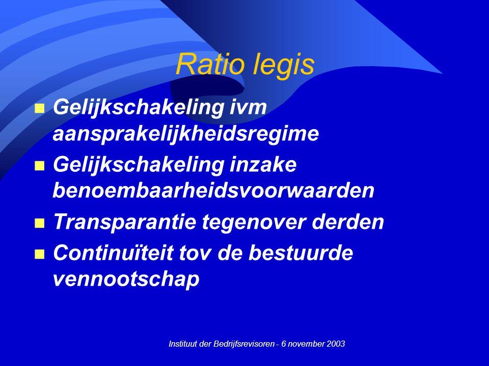 Instituut der Bedrijfsrevisoren - 6 november 2003 Ratio legis n Gelijkschakeling ivm aansprakelijkheidsregime n Gelijkschakeling inzake benoembaarheidsvoorwaarden n Transparantie tegenover derden n Continuïteit tov de bestuurde vennootschap