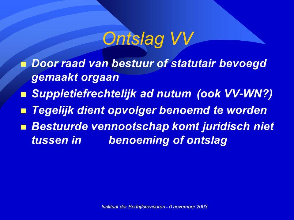 Instituut der Bedrijfsrevisoren - 6 november 2003 Ontslag VV n Door raad van bestuur of statutair bevoegd gemaakt orgaan n Suppletiefrechtelijk ad nut
