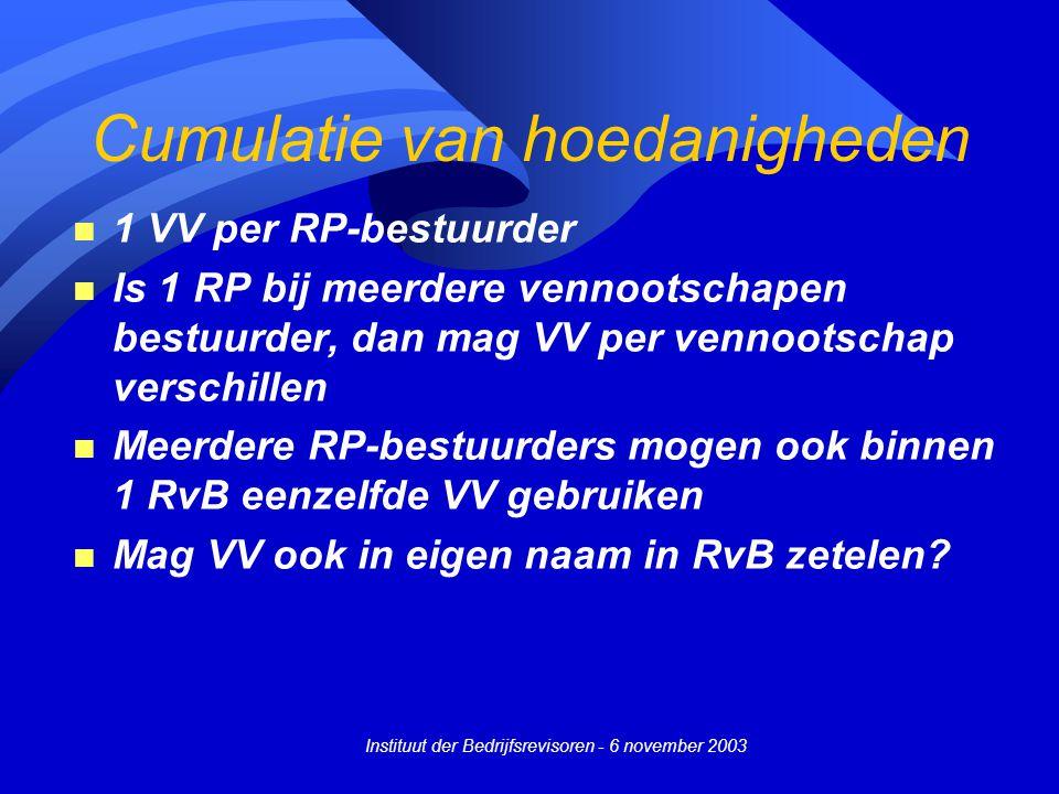 Instituut der Bedrijfsrevisoren - 6 november 2003 Cumulatie van hoedanigheden n 1 VV per RP-bestuurder n Is 1 RP bij meerdere vennootschapen bestuurde