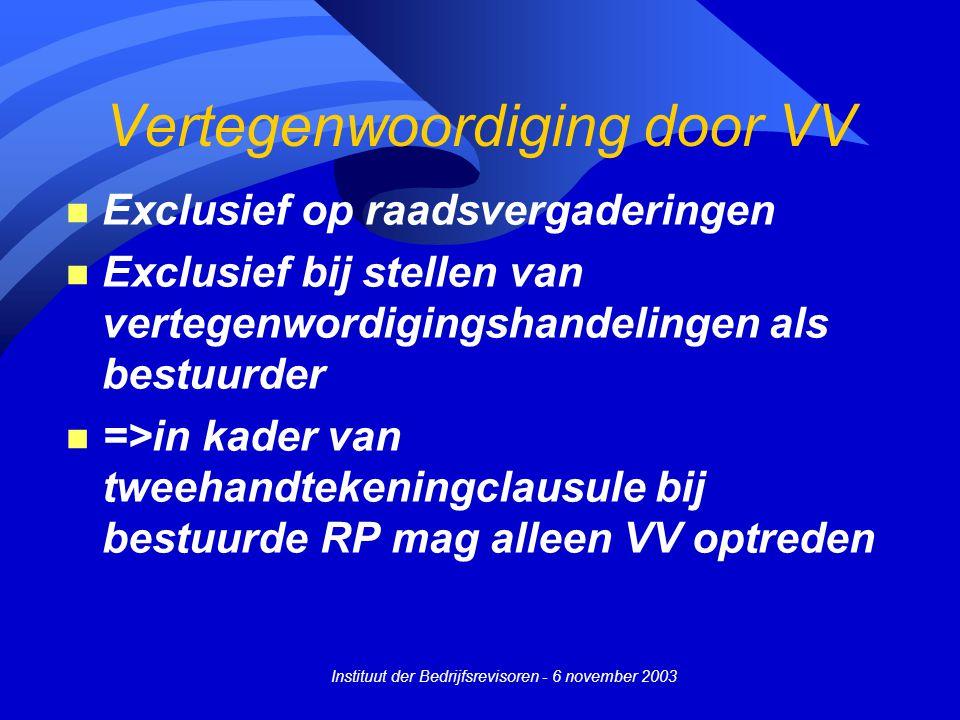 Instituut der Bedrijfsrevisoren - 6 november 2003 Vertegenwoordiging door VV n Exclusief op raadsvergaderingen n Exclusief bij stellen van vertegenwor