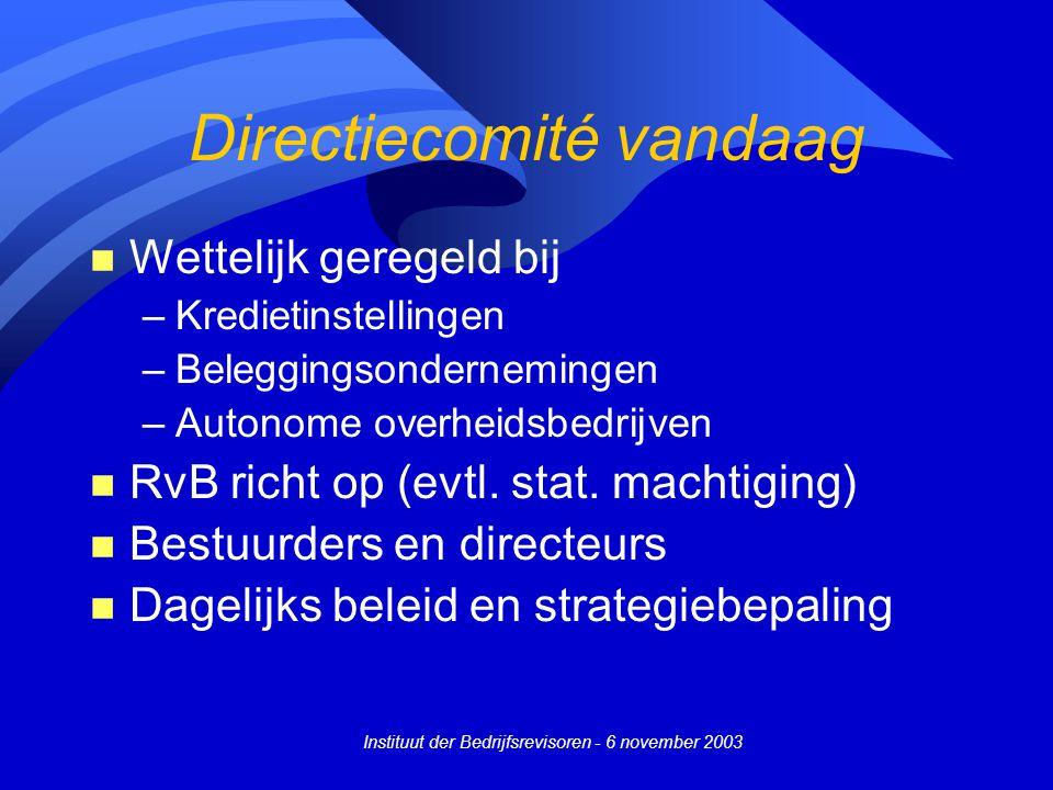 Instituut der Bedrijfsrevisoren - 6 november 2003 Directiecomité vandaag n Wettelijk geregeld bij –Kredietinstellingen –Beleggingsondernemingen –Autonome overheidsbedrijven n RvB richt op (evtl.