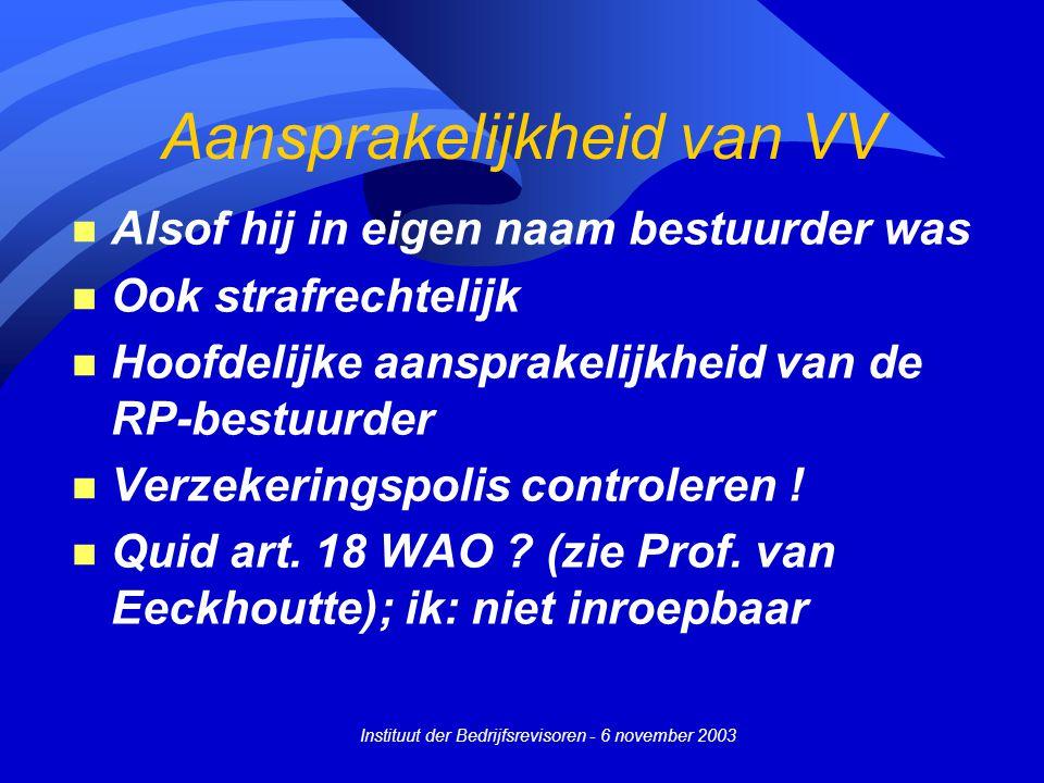 Instituut der Bedrijfsrevisoren - 6 november 2003 Aansprakelijkheid van VV n Alsof hij in eigen naam bestuurder was n Ook strafrechtelijk n Hoofdelijke aansprakelijkheid van de RP-bestuurder n Verzekeringspolis controleren .