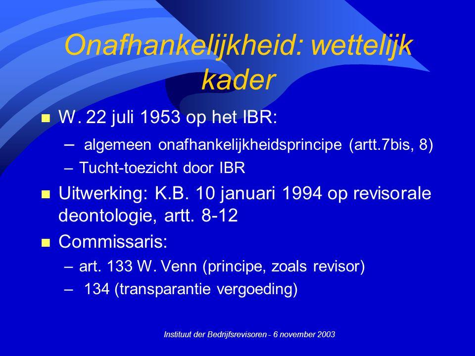 Instituut der Bedrijfsrevisoren - 6 november 2003 Onafhankelijkheid: wettelijk kader n W. 22 juli 1953 op het IBR: – algemeen onafhankelijkheidsprinci
