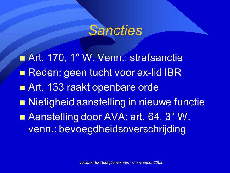Instituut der Bedrijfsrevisoren - 6 november 2003 Sancties n Art. 170, 1° W. Venn.: strafsanctie n Reden: geen tucht voor ex-lid IBR n Art. 133 raakt