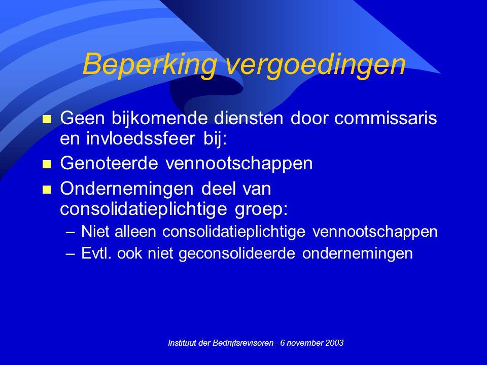 Instituut der Bedrijfsrevisoren - 6 november 2003 Beperking vergoedingen n Geen bijkomende diensten door commissaris en invloedssfeer bij: n Genoteerd