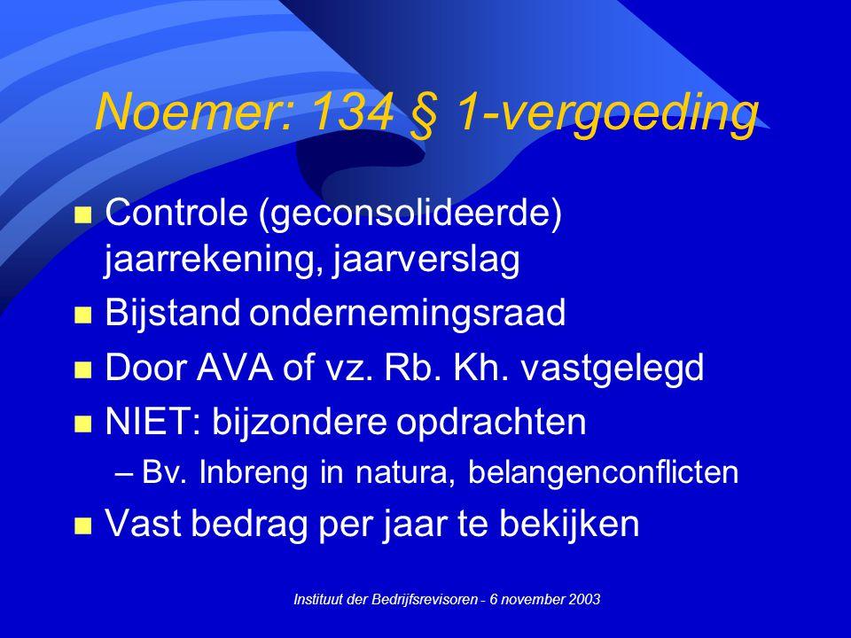 Instituut der Bedrijfsrevisoren - 6 november 2003 Noemer: 134 § 1-vergoeding n Controle (geconsolideerde) jaarrekening, jaarverslag n Bijstand ondernemingsraad n Door AVA of vz.
