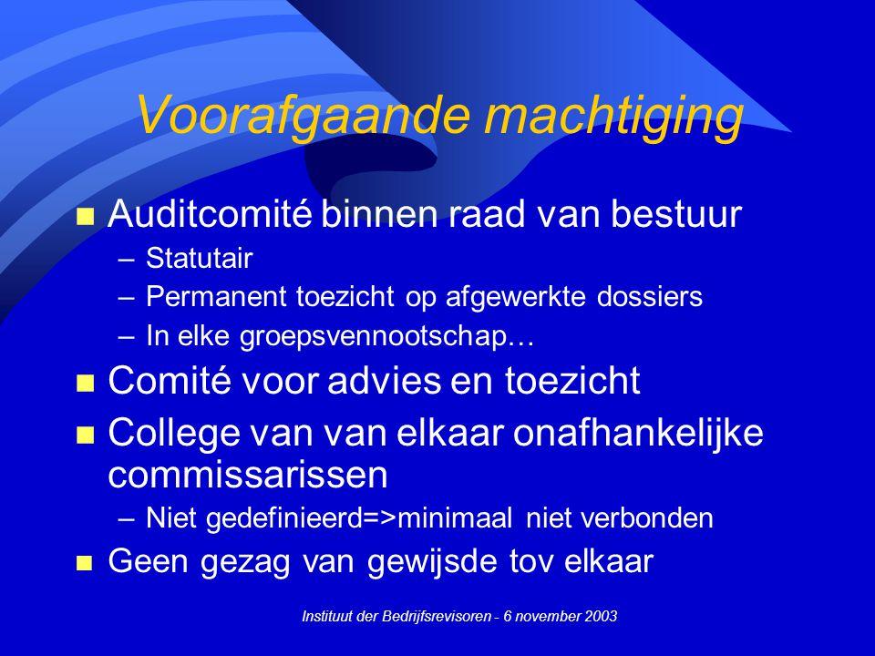 Instituut der Bedrijfsrevisoren - 6 november 2003 Voorafgaande machtiging n Auditcomité binnen raad van bestuur –Statutair –Permanent toezicht op afge