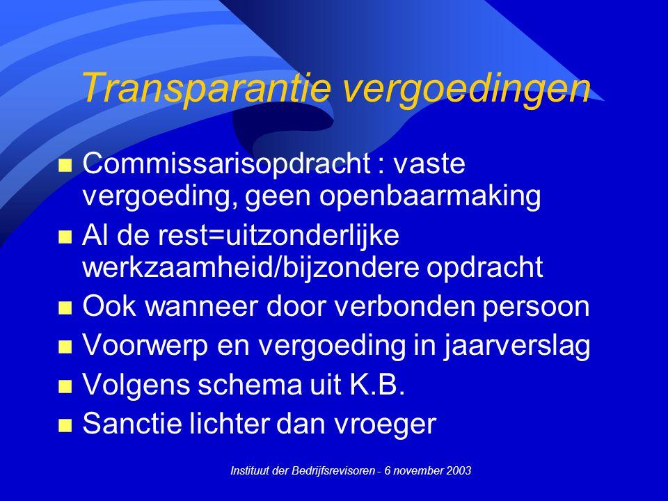 Instituut der Bedrijfsrevisoren - 6 november 2003 Transparantie vergoedingen n Commissarisopdracht : vaste vergoeding, geen openbaarmaking n Al de res