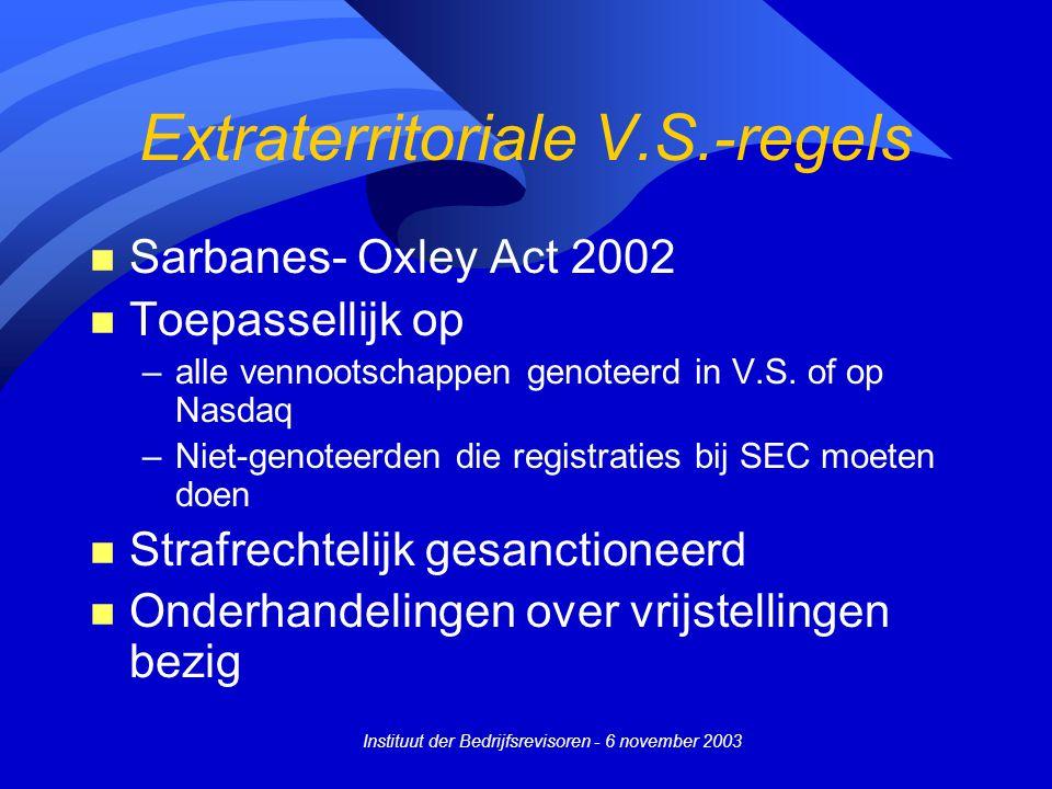 Instituut der Bedrijfsrevisoren - 6 november 2003 Extraterritoriale V.S.-regels n Sarbanes- Oxley Act 2002 n Toepassellijk op –alle vennootschappen genoteerd in V.S.