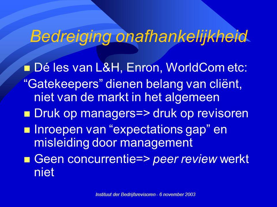 """Instituut der Bedrijfsrevisoren - 6 november 2003 Bedreiging onafhankelijkheid n Dé les van L&H, Enron, WorldCom etc: """"Gatekeepers"""" dienen belang van"""