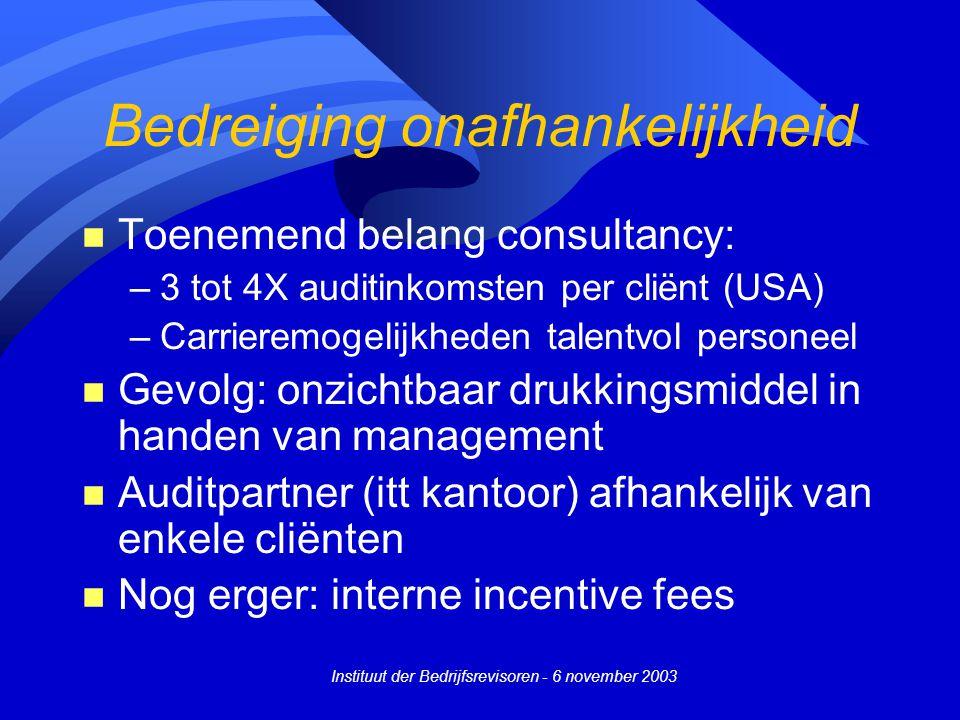 Instituut der Bedrijfsrevisoren - 6 november 2003 Bedreiging onafhankelijkheid n Toenemend belang consultancy: –3 tot 4X auditinkomsten per cliënt (US