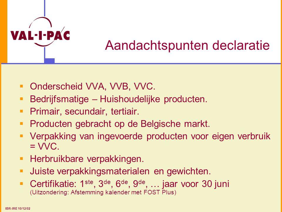Aandachtspunten declaratie  Onderscheid VVA, VVB, VVC.  Bedrijfsmatige – Huishoudelijke producten.  Primair, secundair, tertiair.  Producten gebra