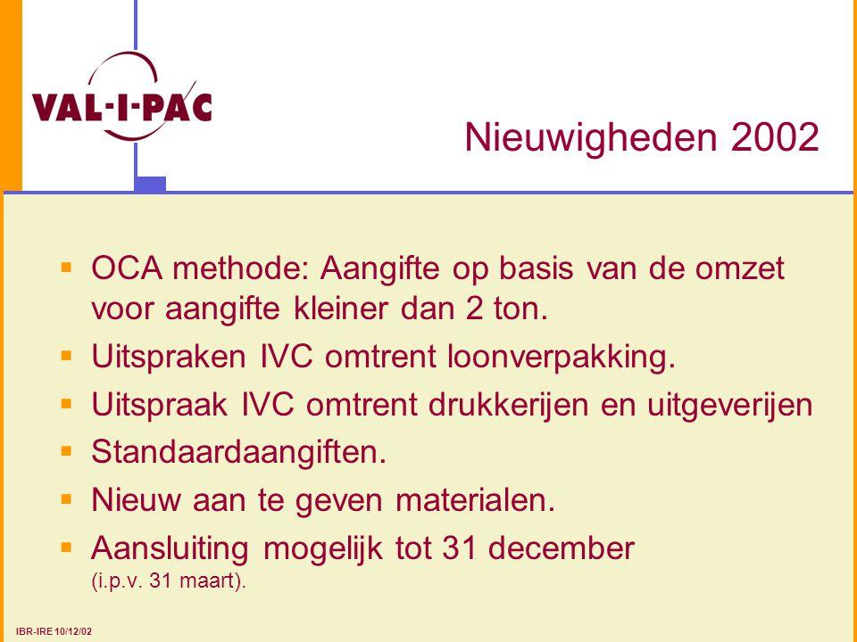 Nieuwigheden 2002  OCA methode: Aangifte op basis van de omzet voor aangifte kleiner dan 2 ton.  Uitspraken IVC omtrent loonverpakking.  Uitspraak