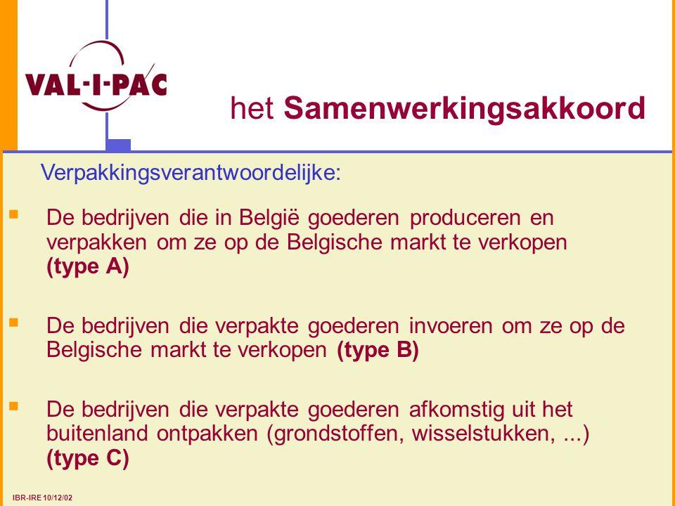 het Samenwerkingsakkoord  De bedrijven die in België goederen produceren en verpakken om ze op de Belgische markt te verkopen (type A)  De bedrijven die verpakte goederen invoeren om ze op de Belgische markt te verkopen (type B)  De bedrijven die verpakte goederen afkomstig uit het buitenland ontpakken (grondstoffen, wisselstukken,...) (type C) Verpakkingsverantwoordelijke: IBR-IRE 10/12/02