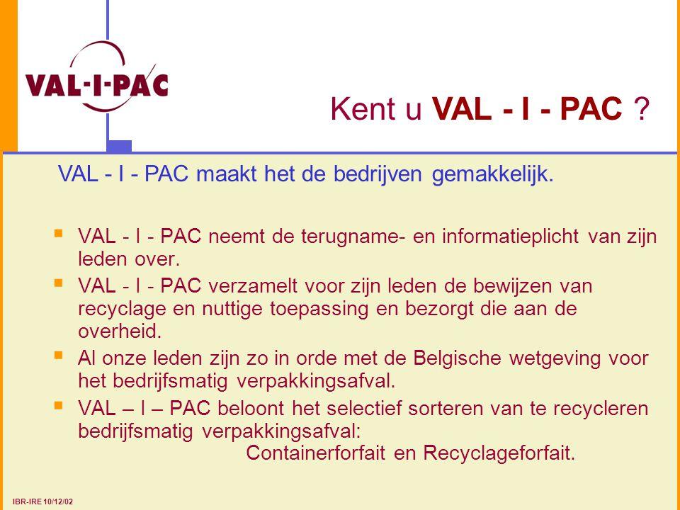 VAL - I - PAC Systeem Terugnameplicht = = 80% IVCIE Ontpakkers Verpakkings- verantwoordelijken Verpakkings- verantwoordelijken Verpakte producten Info (B) Hoeveelheid op de markt gebrachte verpakkingen (B) Info (A) Hoeveelheid nuttig verwerkt verpakkingsafval (A) Verpakkingsafval Operatoren Recyclage Container Forfait forfait Terugname- en informatieplicht IBR-IRE 10/12/02