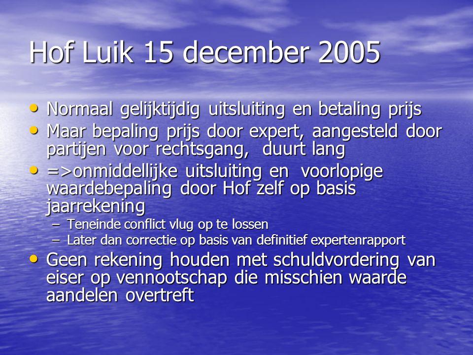 Hof Luik 15 december 2005 Normaal gelijktijdig uitsluiting en betaling prijs Normaal gelijktijdig uitsluiting en betaling prijs Maar bepaling prijs do