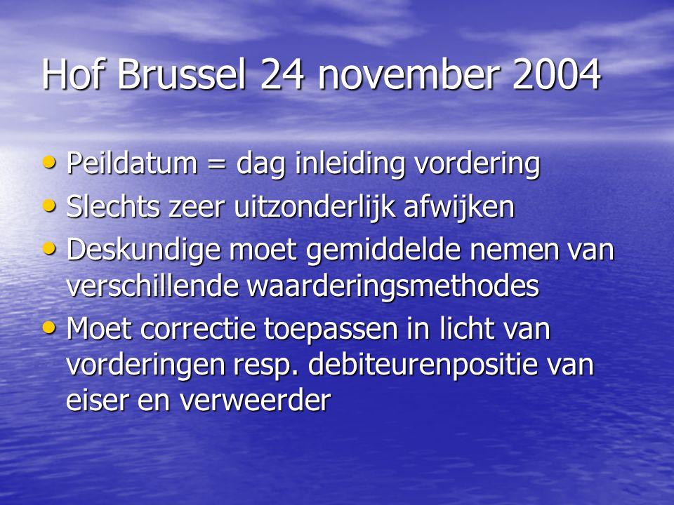 Hof Brussel 24 november 2004 Peildatum = dag inleiding vordering Peildatum = dag inleiding vordering Slechts zeer uitzonderlijk afwijken Slechts zeer