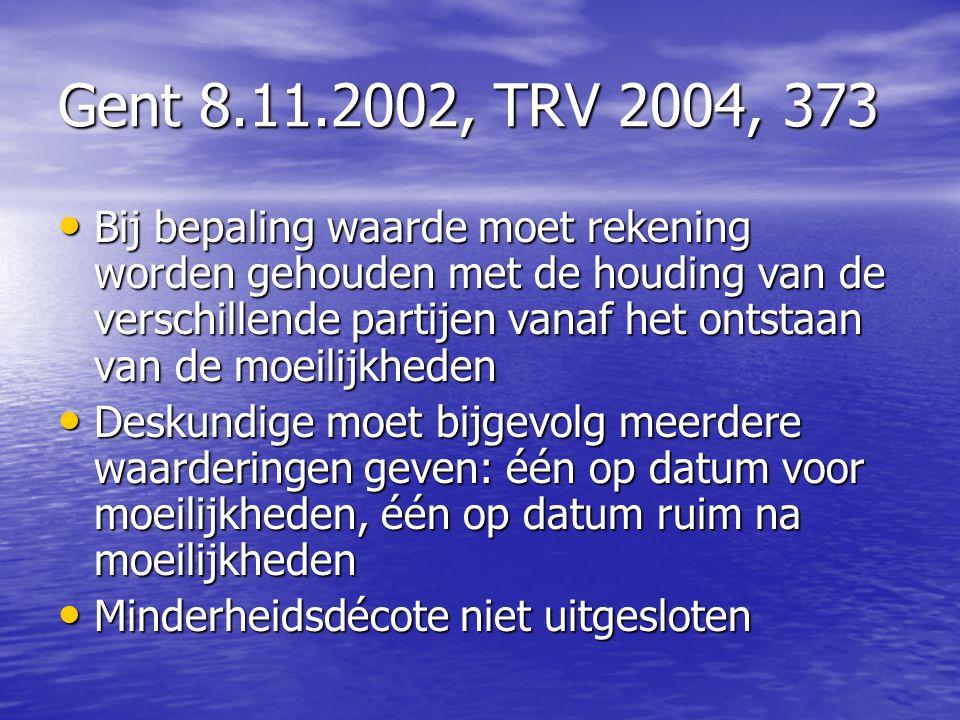 Gent 8.11.2002, TRV 2004, 373 Bij bepaling waarde moet rekening worden gehouden met de houding van de verschillende partijen vanaf het ontstaan van de